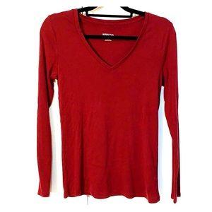 Merona maroon long sleeve top 100% cotton sz M